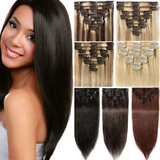 Premium Clip In Hair Extension Remy 100% Real Human Hair Extensions Full Head N7