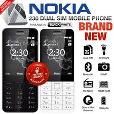 New Unlocked NOKIA 230 Black White Dual SIM Senior Citizen Keypad Cell Phone