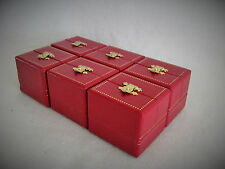 Lot of 6 Leatherette Double Door Ring Gift Boxes with Goldtone Latch
