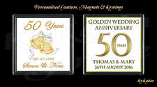Golden Wedding 50th Anniversary Personalised Drinks Coaster Anniversary Gift