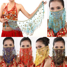 Belly Dance Face veil Shawl Scarf Transparent Face Cloth with Beads and Sequins