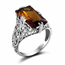 Brand Vintage 925 Sterling Silver Big Stone Amber Crystal Ring Wedding Jewelry