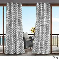Indoor Outdoor Modern Grey White Scroll Filigree Grommet Curtain Panel Privacy