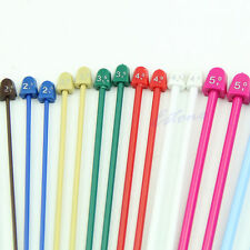 PAIR 25 CM'S PLASTIC SINGLE POINT KNITTING NEEDLES,10 SIZES 2MM-6.5MM,FROM $3.98