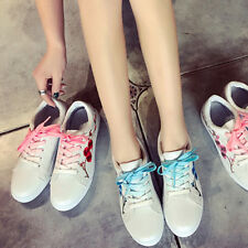 2017 Women Fashion Flower Embroidered Casual Lace Up Sneakers Trainer Flat Shoes