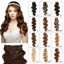 Clip In Remy Real 100% Human Hair Extensions Full Head Body Any Color 100g-120g