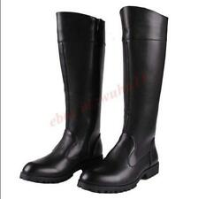 Men Long Boot Punk Knee High Boot Faux Leather Casual Zip Riding Military Shoes