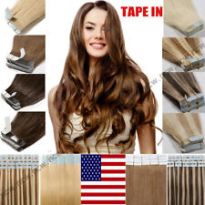 Tape-In 60pcs 100% Virgin Remy Human Hair Extensions Skin Weft Full Head Blonde
