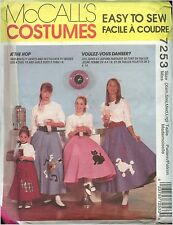 Misses 50's Costume Poodle Skirt Costume size XS-L Sewing Pattern McCalls 7253