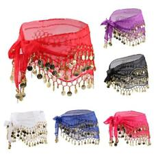 Women's Chiffon 3 Rows Gold Coins Bohemian Hip Scarf Wrap Belt for Belly Dancing