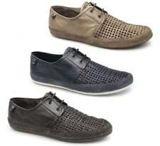 Base London TENT WEAVE Mens Soft Woven Leather Casual Espadrille Lace Up Shoes