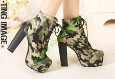 New Women Lace up Military Camouflage High heel Platform Casual Ankle boot Shoes