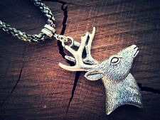 Silver Tone Handsome Buck Deer Pendant-Braided Camo Cord Adjustable Necklace USA