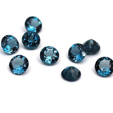 3mm to 8mm NATURAL LONDON BLUE TOPAZ ROUND FACETED CUT AA QUALITY LOOSE GEMSTONE