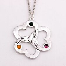 Personalized Triple Heart Necklace with Birthstones, Custom Made Any Name.