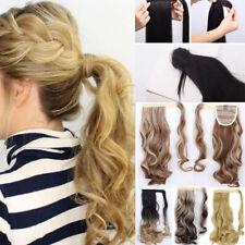 US One Piece Real Thick Clip In human Hair Extension Wrap Around Ponytail Blonde