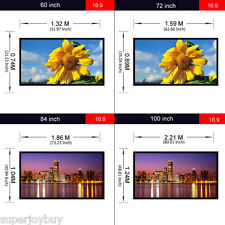 16:9 4:3 Manual Projection Screen Projector Movie Matte White 60/72/84/100/120""