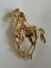 "Gold Tone Galloping Horse Clear Crystal  Brooch Pin 2 1/8"" L"
