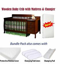 Convertible Wood Baby Crib Nursery Toddler Bed w/ Mattress & Changer & Gifts NEW