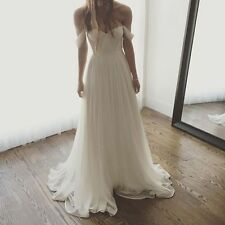 Off the Shoulder Chiffon Spring Wedding Dresses Custom Size 2 4 6 8 10 12 14