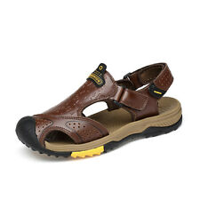 Mens Chunky Gladiator Genuine Leather Sandals Summer Fisherman Beach Shoes