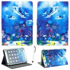 "For 7"" - 7.9"" Tablets PC Blue Dolphins Universal PU Leather Stand Case Cover+Pen"