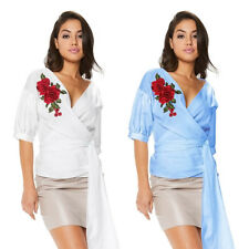 Women's Embroidered Front Tie Frill Knot Shirt Casual Blouse Loose Tops T-Shirt
