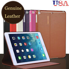 Luxury Real Cowhide Genuine Leather Case Stand Smart Cover for iPad Business US