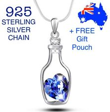 Crystal Love Heart Drift Floating Bottle Pendant Necklace 925 Sterling Chain New