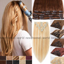 FULL HEAD Clip in Human Hair Extensions 8Piece Remy Hair Any Color Highlight B54