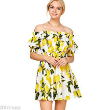Women Sexy Lemon Print Off The Shoulder Party Cocktail Casual Short Mini Dress