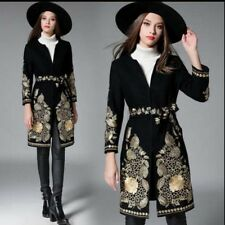 Euro Women's Gold Floral Embroider Long Jacket Wool Trench Coat Outwear SZ S-2XL