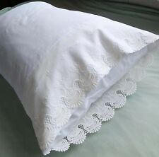 New Embroidered Lace PillowCases White 100% Sateen Cotton Standard Pair  M9#
