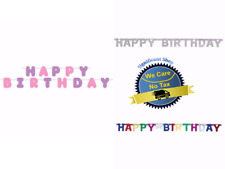 Birthday Party Supplies Banner Happy Backdrop Hanging Decoration Text Girls Boys