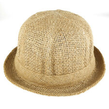 Round Straw Rolled Up Brim Hat with Colored Hat Band