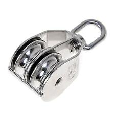 New Stainless Steel Double Sheave Swivel Eye Rope Pulley Block Wheel Choice