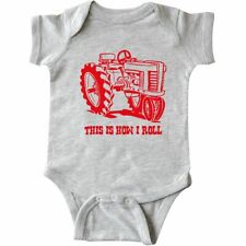Inktastic This Is How I Roll Tractor RED Infant Creeper Vintage Farm Equipment