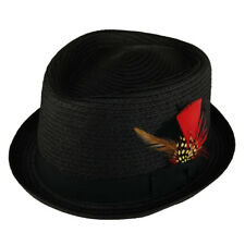 Men's Pork Pie Straw Fedora Hat with Feather Grosgrain Hat Band - Free Shipping