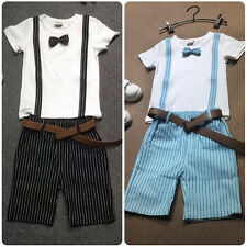 Baby Kid Boy Wedding Formal Dress Tuxedo Suit Outfit Top T Shirts+Stripe Pants