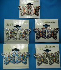 SALE-SILVER TONE CLOISONNE BUTTERFLY BUTTON POST EARRINGS-NEW-EXCLUSIVE
