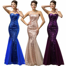 Women Strapless Sequins Mermaid Tulle Evening Party Ball Gown Wedding Dress Hot
