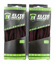 ELITE Pro-Series Premium Wide Non-Waxed Hockey Skate Laces Black/Red 2 Pack