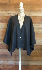 Fleece Ruana Cape Shawl Wrap Misses Onesize Topstitched Charcoal Gray 4 Colors