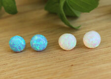 Blue White Opal Stud Earrings Round Cabochon Post Sterling Silver Women Jewelry