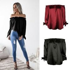 Casual Blouse Fashion Women's Off Shoulder Tops Long Sleeve Shirt Loose T-shirt