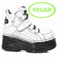 New Rock Unisex M.714-C15 White Vegan Leather Boots - Gothic,Cyber,Punk - [SO]