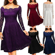 UK Womens Floral Lace Long Sleeve Cocktail Prom Gown Party Evening Skater Dress