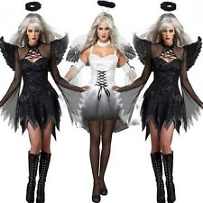 Adult Fallen Angel Costume With Angel Wings Fantasia Halloween Costumes Womens