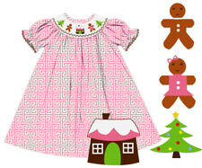 NWT Christmas Tree, Gingerbread Man and House Hand Smocked Pink Greek Key Dress