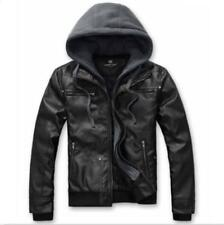 Mens Motorcycle Hoodies PU Leather Removable Slim Fit Short Jacket Casual Coat